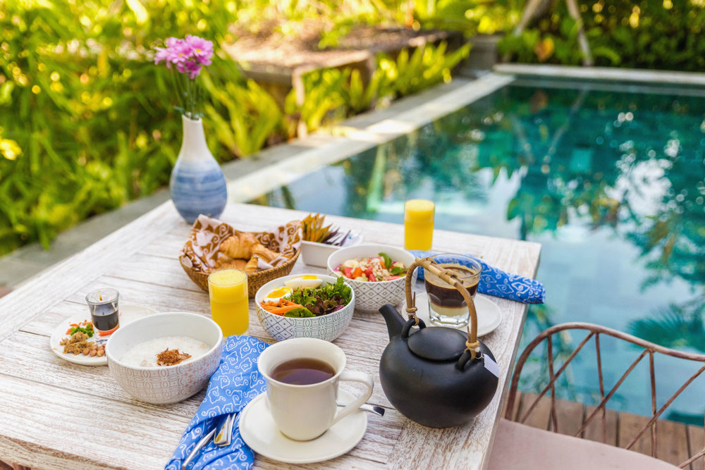 Poolside breakfast at Nau Villas, Ubud in Bali