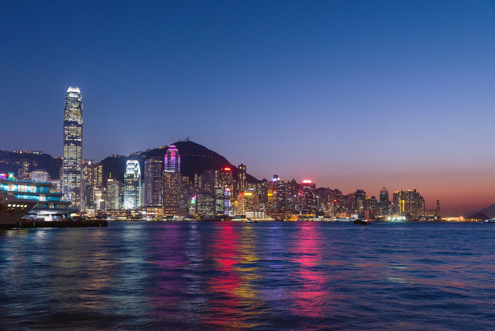 Hong Kong Central skyline at sundown - [  BUY PRINT  ]