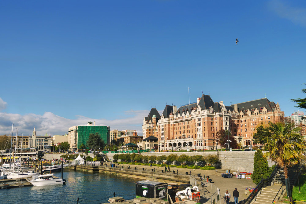The Fairmont Empress next to the wharf in downtown Victoria