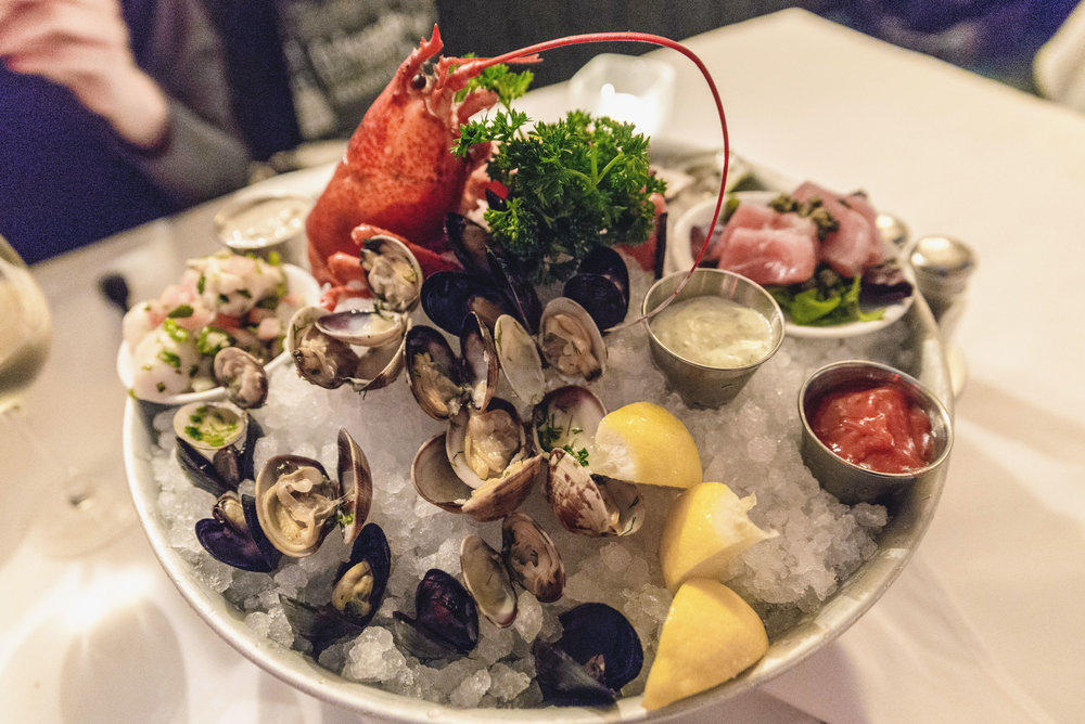 Joe's seafood tower on ice at Joe Fortes Seafood & Chop House in Vancouver, Canada