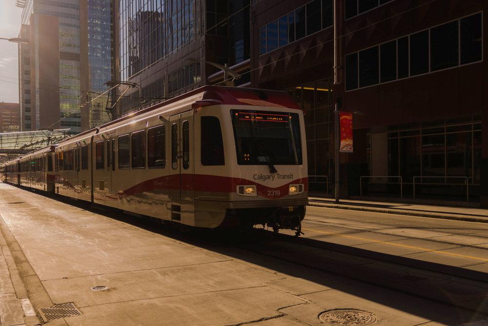 The CTrain going through downtown Calgary
