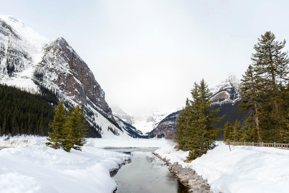 A snowy Lake Louise