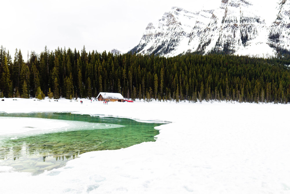 Lake Louise covered in white snow
