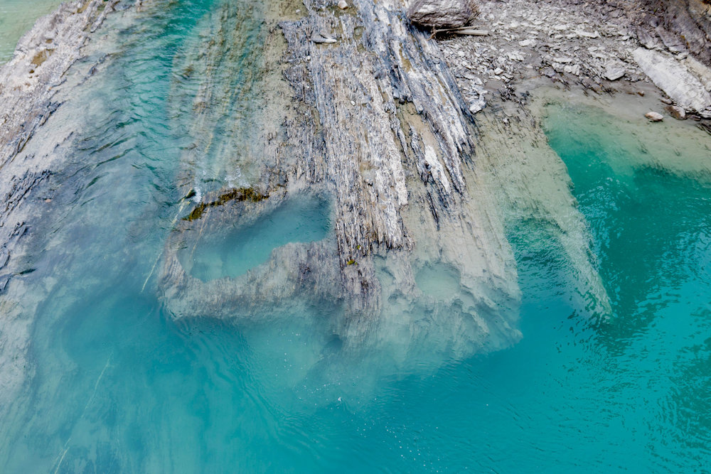 Blue waters at Kicking Horse Pass