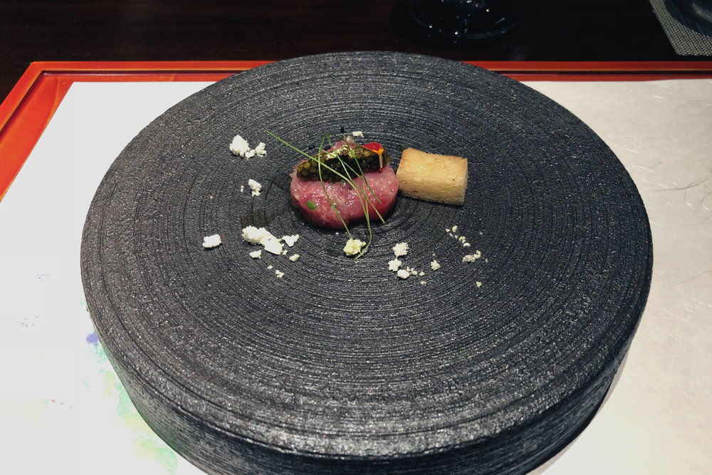 Siberian caviar on ahi (tuna) tartare, basil powder and toast w/ 24k gold leaf