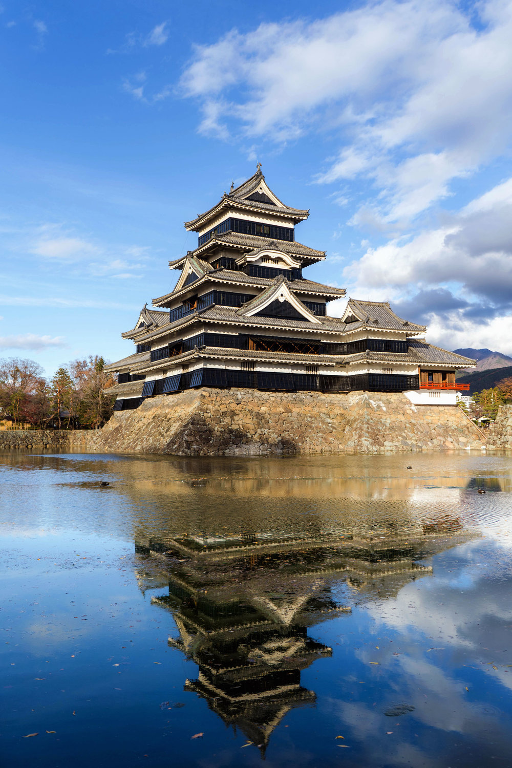 Matsumoto castle reflecting in the moat