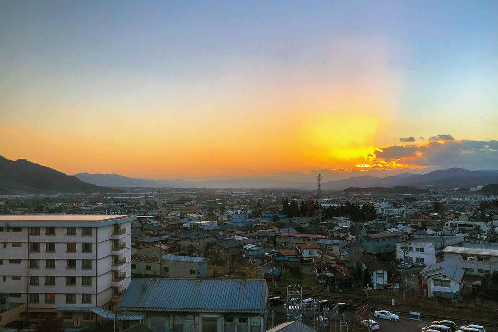 Nakano city at sundown