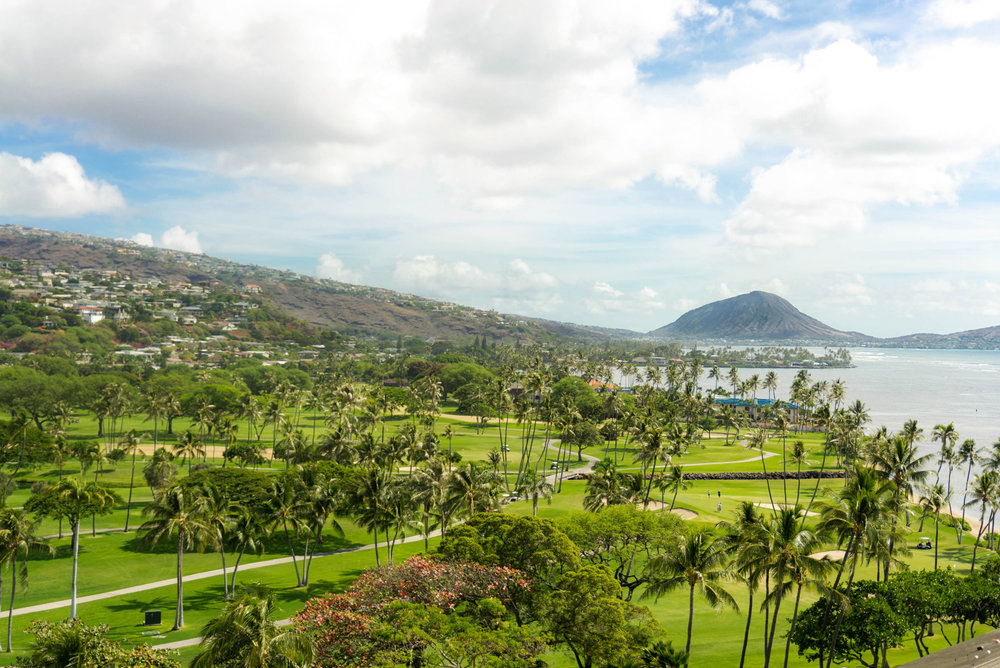 Waialae Golf Course and Koko Crater seen from The Kahala Hotel