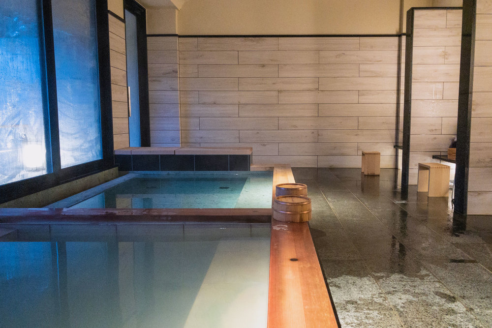 Public indoor onsen bath area