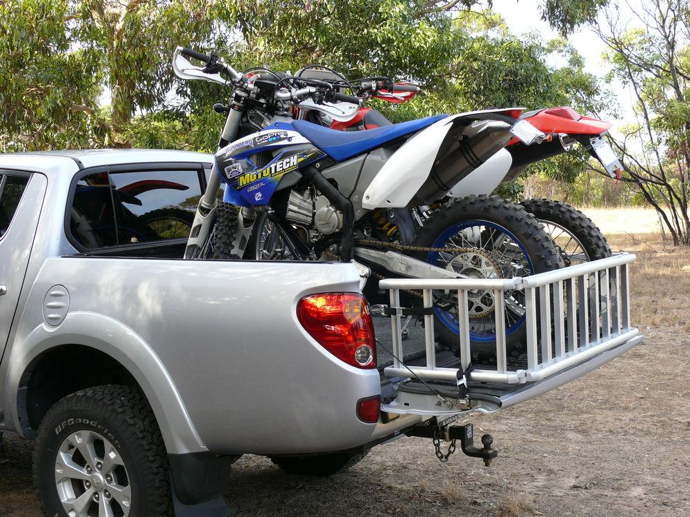 ReadyRamp with two dirt bikes on Mitsubishi Triton