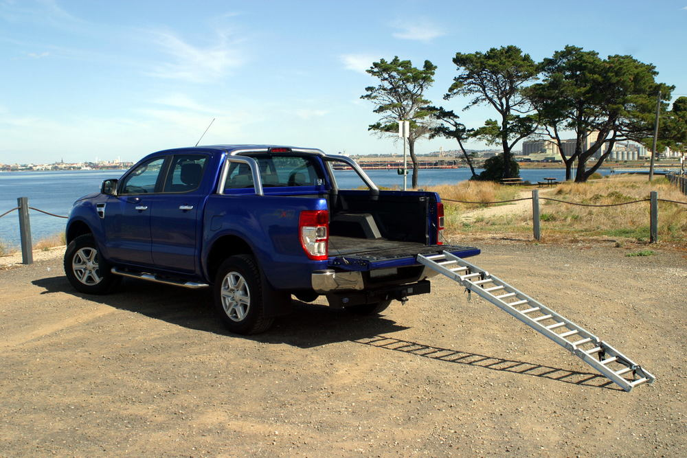 ReadyRamp Loading Ramp onto Ford Ranger.JPG