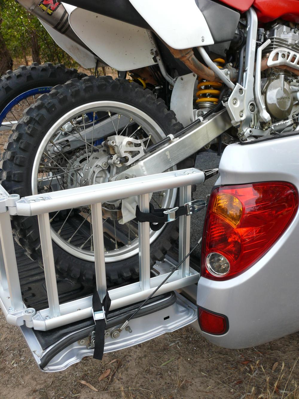 ReadyRamp as extender on Mitsubishi Triton with two dirtbikes