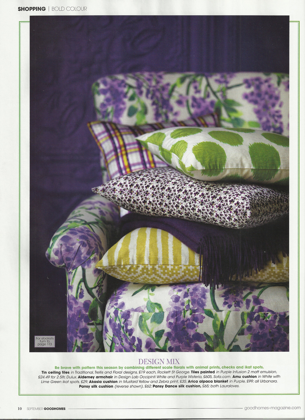 Lauraloves cushions GoodHomes Magazine - Pansy Dance