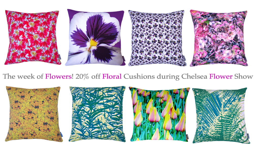 20% off floral cushions - chelsea flower show - Lauraloves