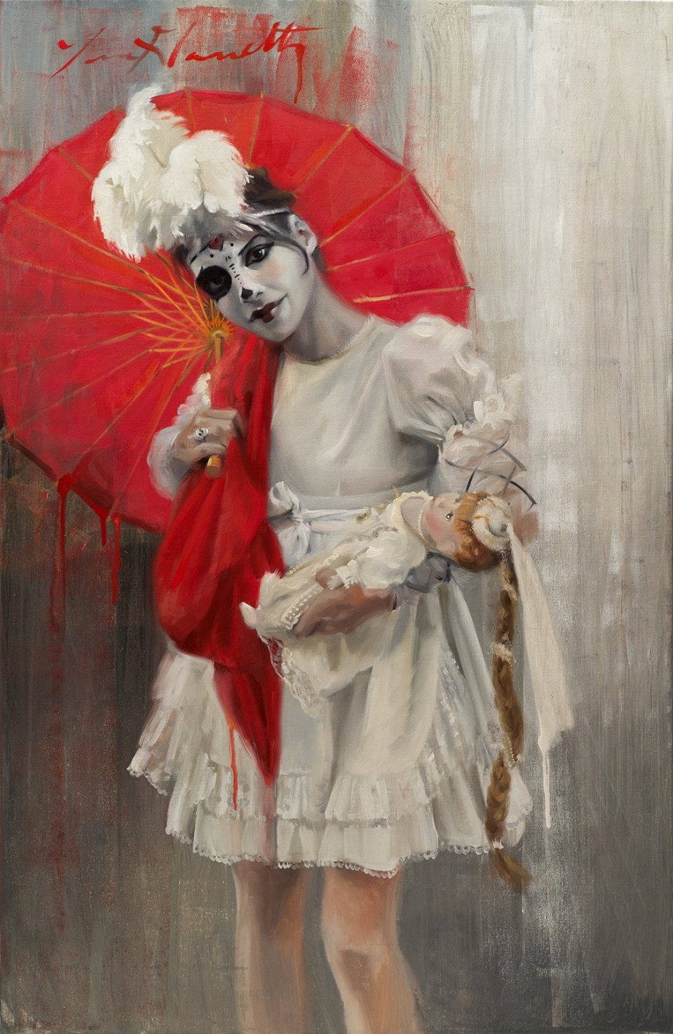 """Ombrelle Rouge"" 26x40 Oil on Linen — SOLD"