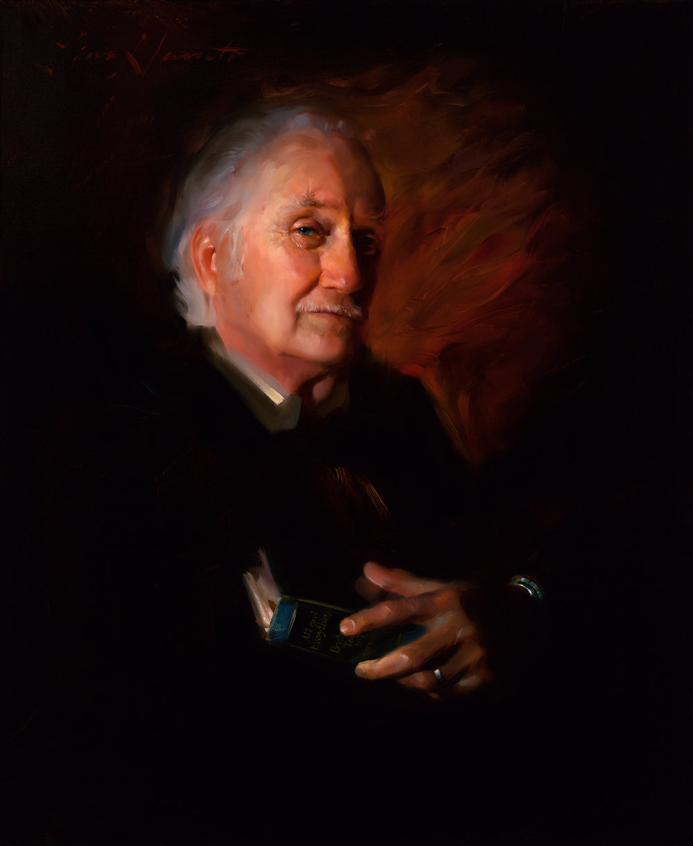 """The Teacher"" 34x28 Oil — Commissioned Portrait and 13th Annual ARC Salon Finalist"