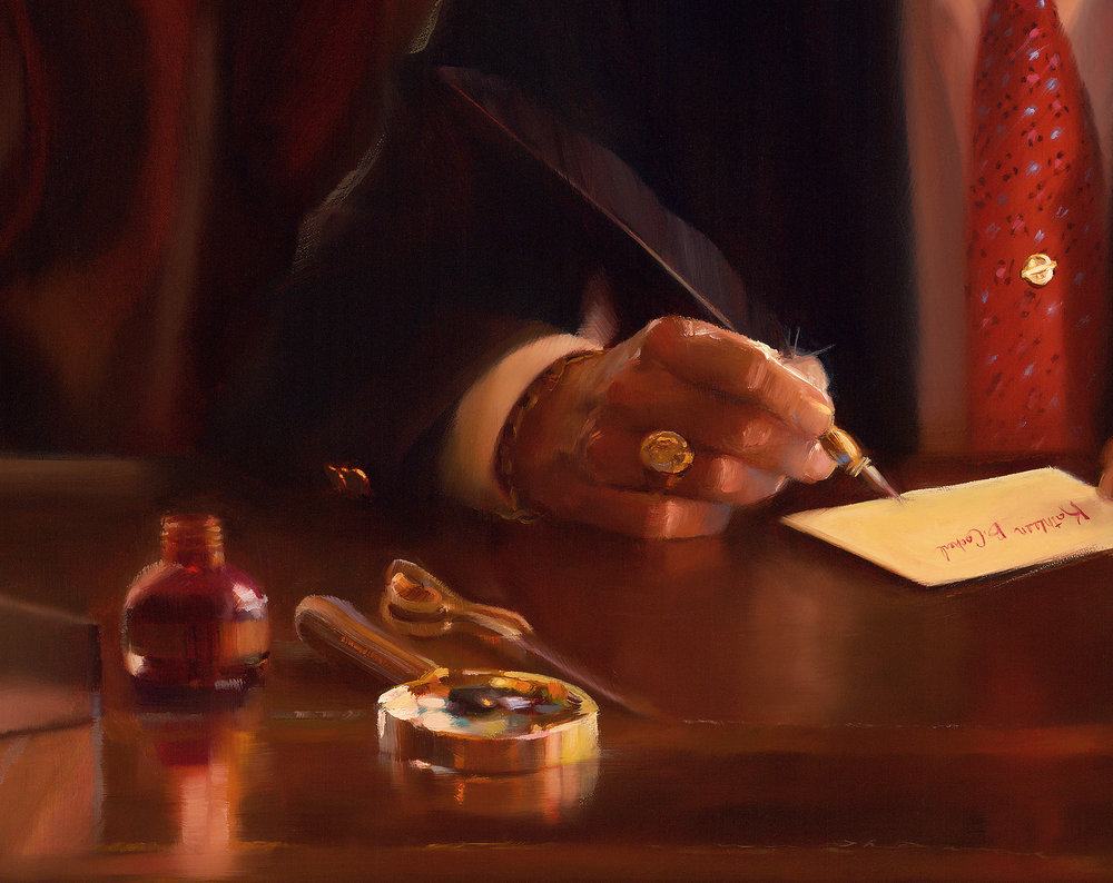 Detail: MR C. at Work, Commissioned portrait