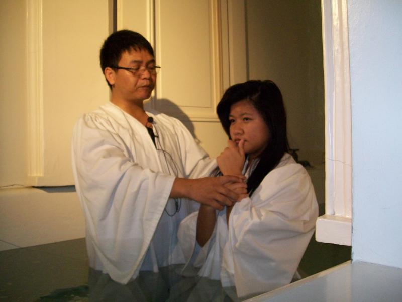 Baptizing 10 in the FBCD Sanctuary