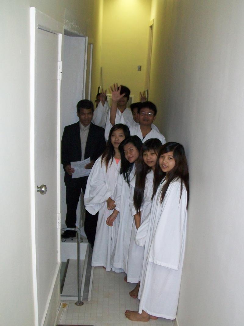 Baptism candidates waiting