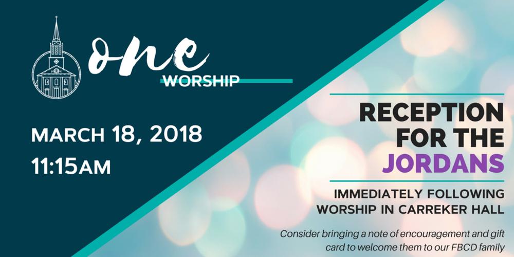 One Worship Pastor Reception