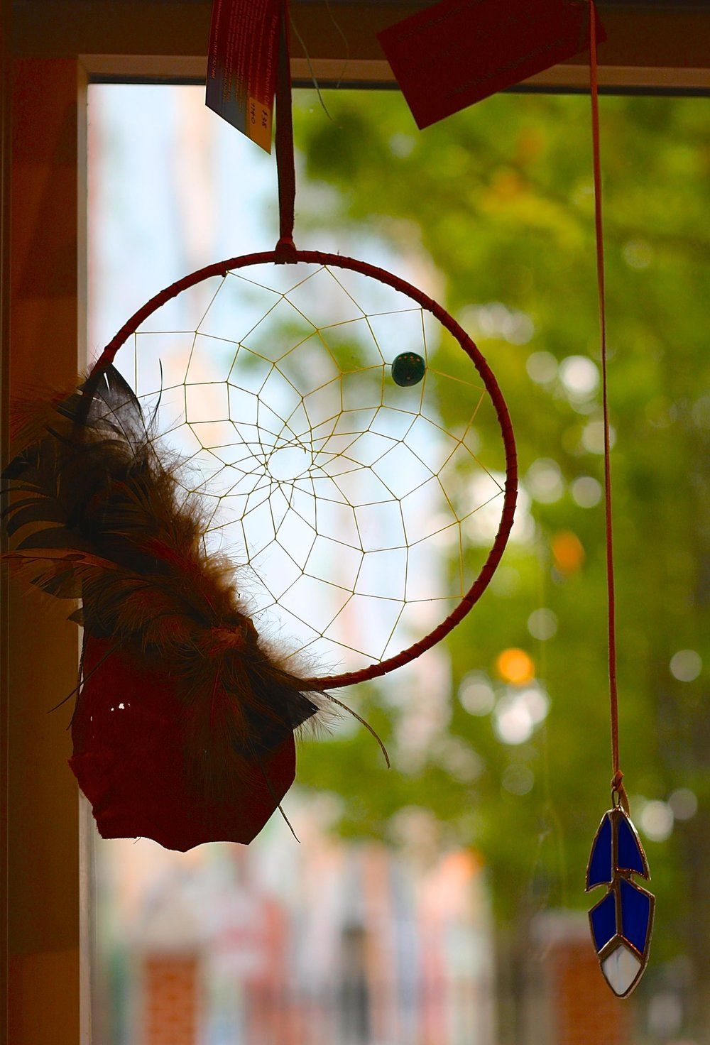 Dreamcatcher and stained glass feather.jpg