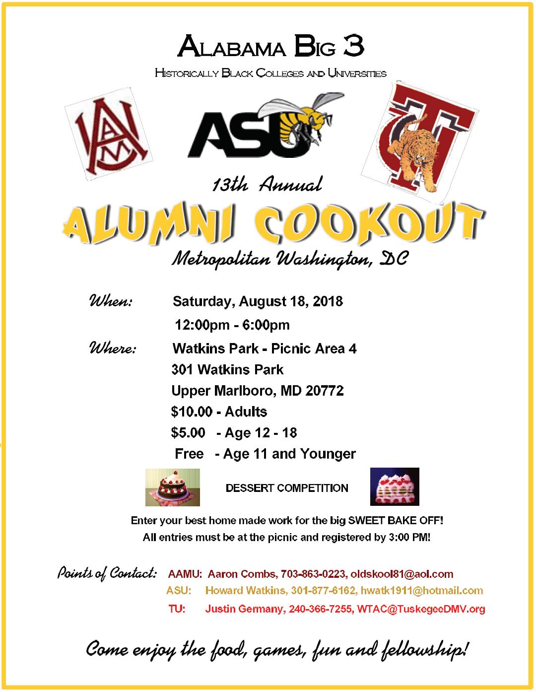 2018 Annual Alabama Big 3 Cookout — The Washington-Tuskegee