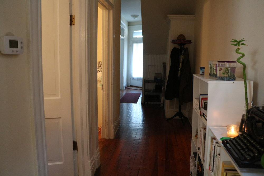 From the kitchen/bathroom end of the hallway down to the front door (my room is the first door on the left)