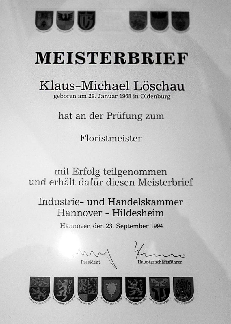 Meisterbrief von Michael Löschau.