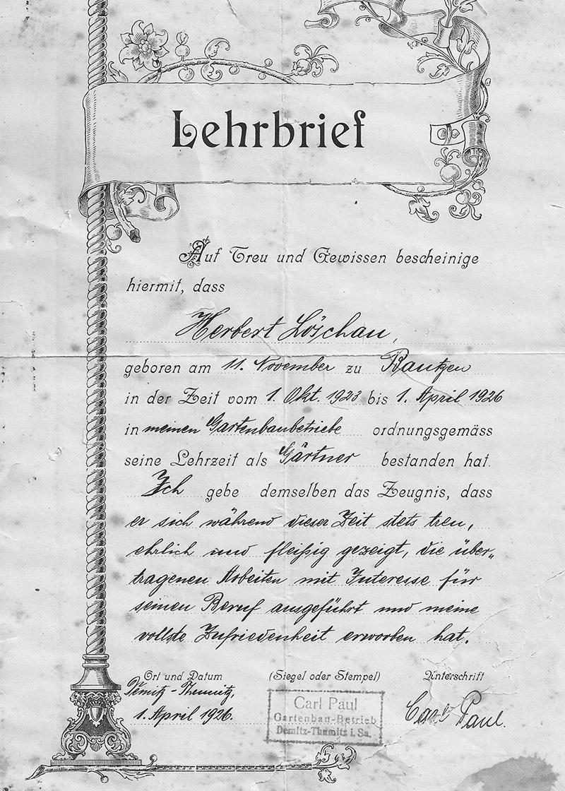 Lehrbrief von Herbert Löschau.