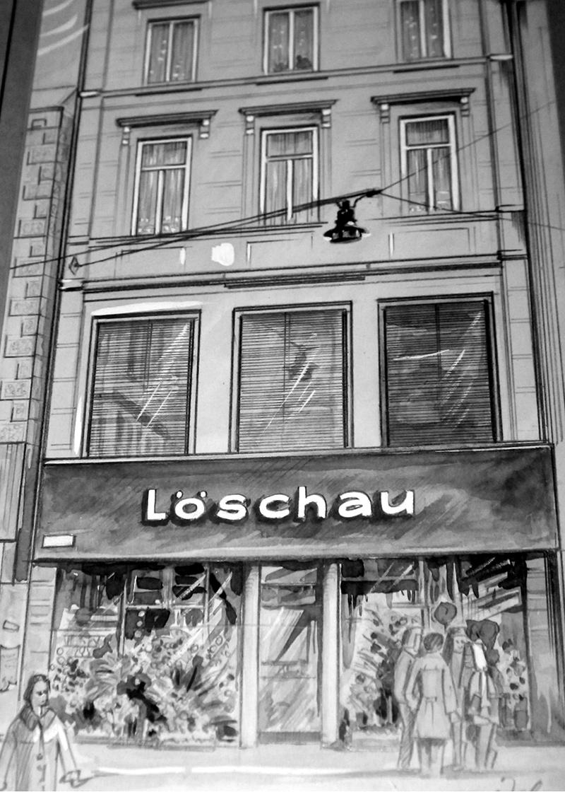 Löschau in der Langen Straße 1973 – Zeichnung von Kurt Zeh.