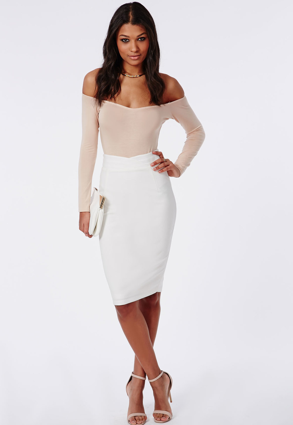 MISSGUIDED High Waisted Midi Skirt