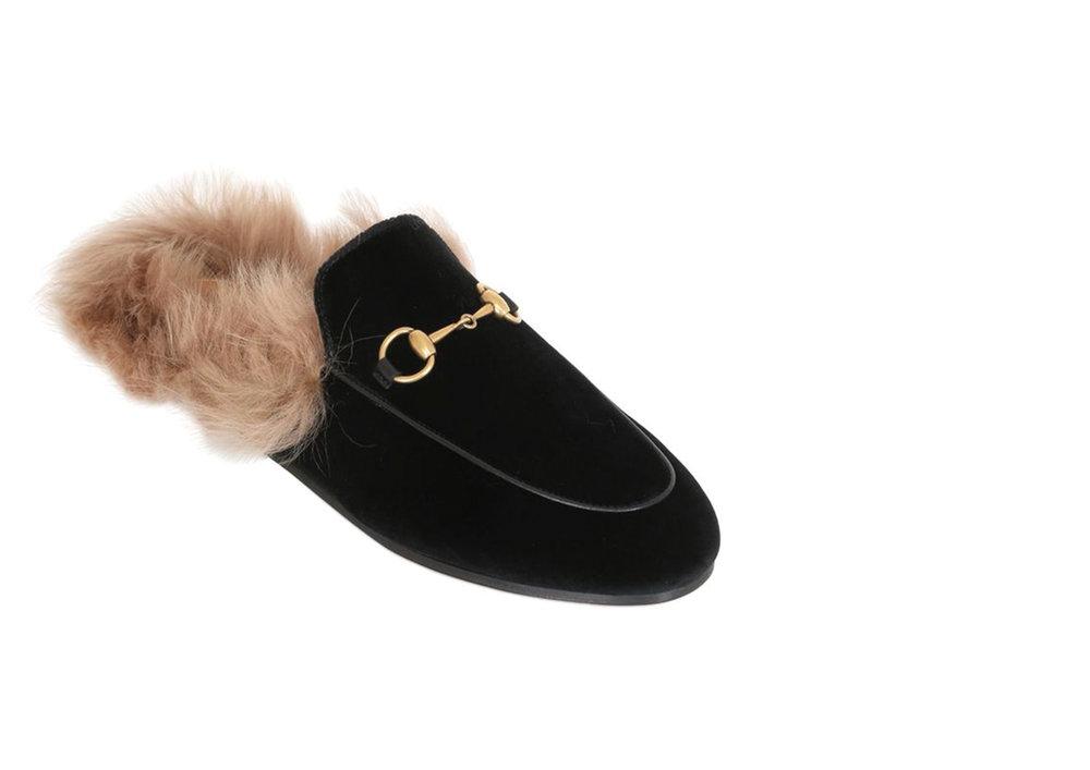 Gucci Princetown Velvet & Fur Mules