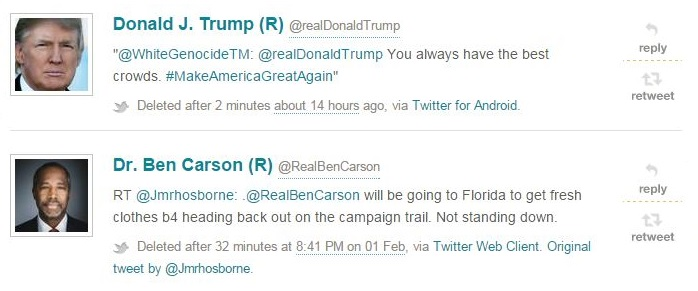 An example of recent deleted tweets from the presidential campaign.