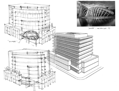 Early conceptual drawings from Meiklejohn Architects - 2013