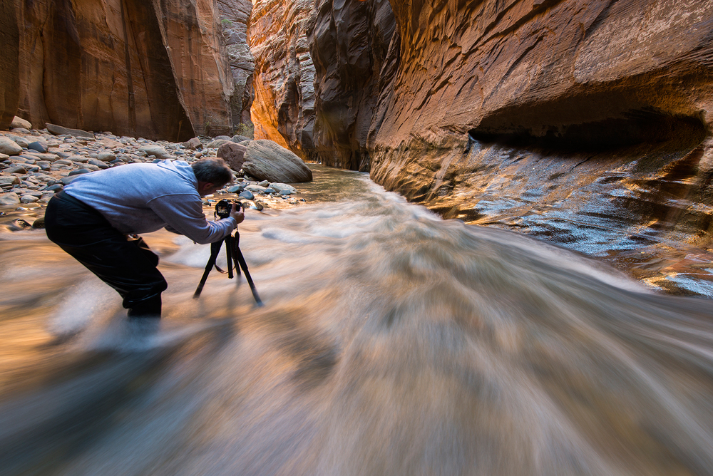 Working the light in the Zion Narrows