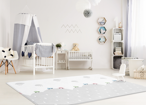 """Another new product now available on our website: """"Traveling / Modern Life"""" Pure Soft Mat. This chic yet kid-friendly design is perfect for your little #car lover! Swipe for close-up images of both sides of this reversible play mat."""