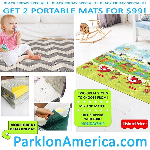 #BlackFriday starts now! Get two Portable Folding Mats for $99 (Reg. Price: $64.99 each)! Plus, get free shipping on all orders with code HOLIDAYSHIP. Head to our website (link in bio) to see all our Black Friday Deals! #deals #discounts #sale #playmat #parklon #kids #babies #babyproducts #nontoxic