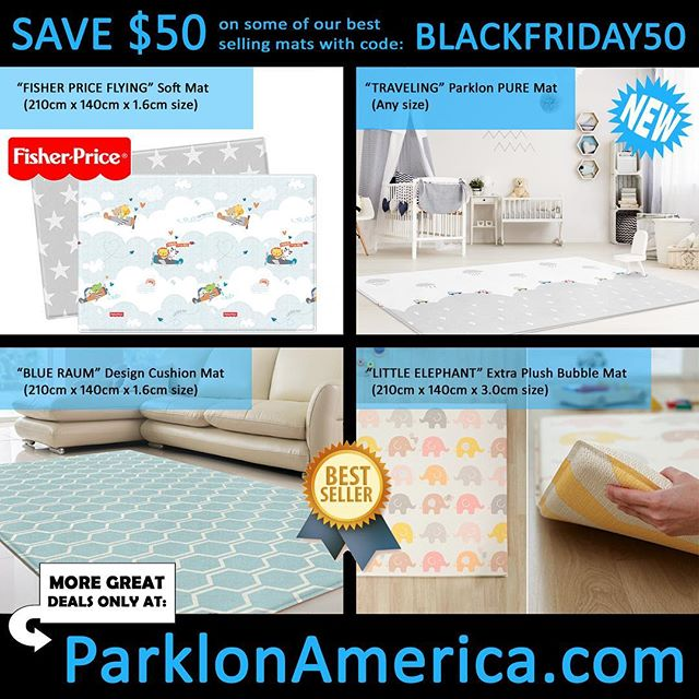 Who's #shopping today?? Take $50 off select play mats with code BLACKFRIDAY50 on our website! Offer ends on Sunday!