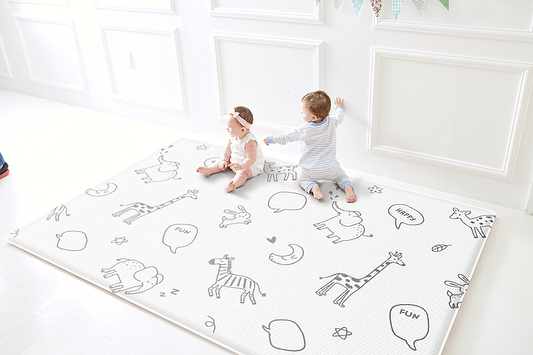 """New design from our new Baby Soft line - this is """"Animal Talk"""" with a chevron pattern on the reverse side. Starting at only $129.99! #parklon #parklonamerica #parklonplaymat #newproduct #new #babydecor"""