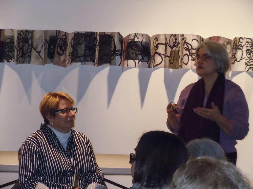 Artist talk at the Danforth Museum of Art. Rhoda Rosenberg (left) and Executive Director Katherine French. (2012)