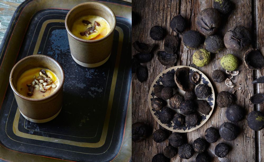 raw milk panna cotta with maple and black walnuts