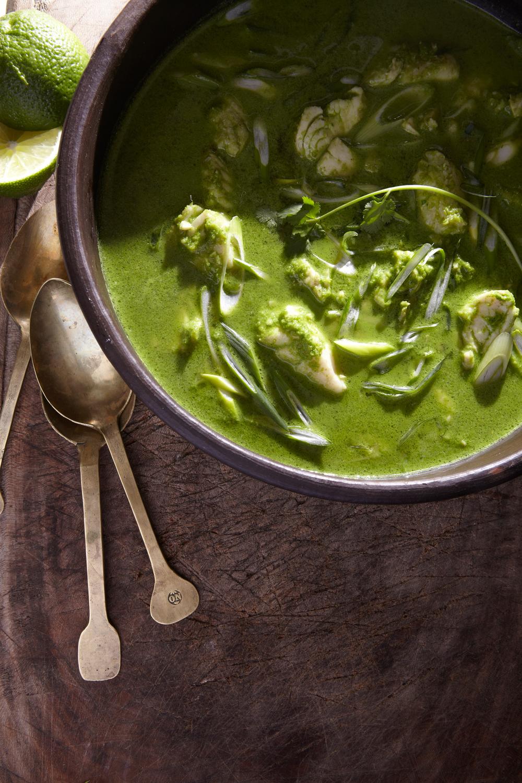 very green fish stew