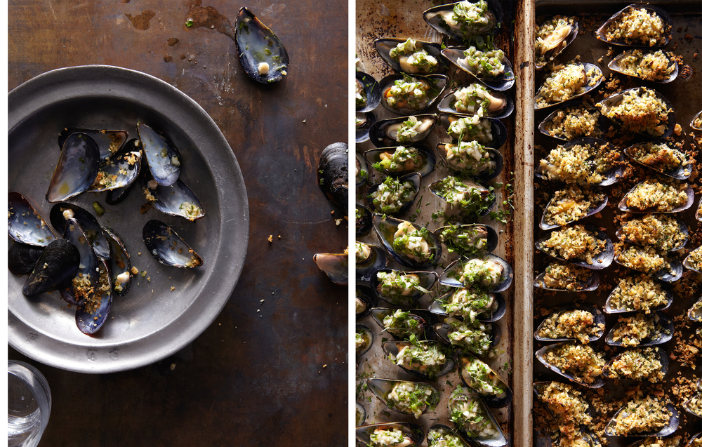 mussels on the half shell
