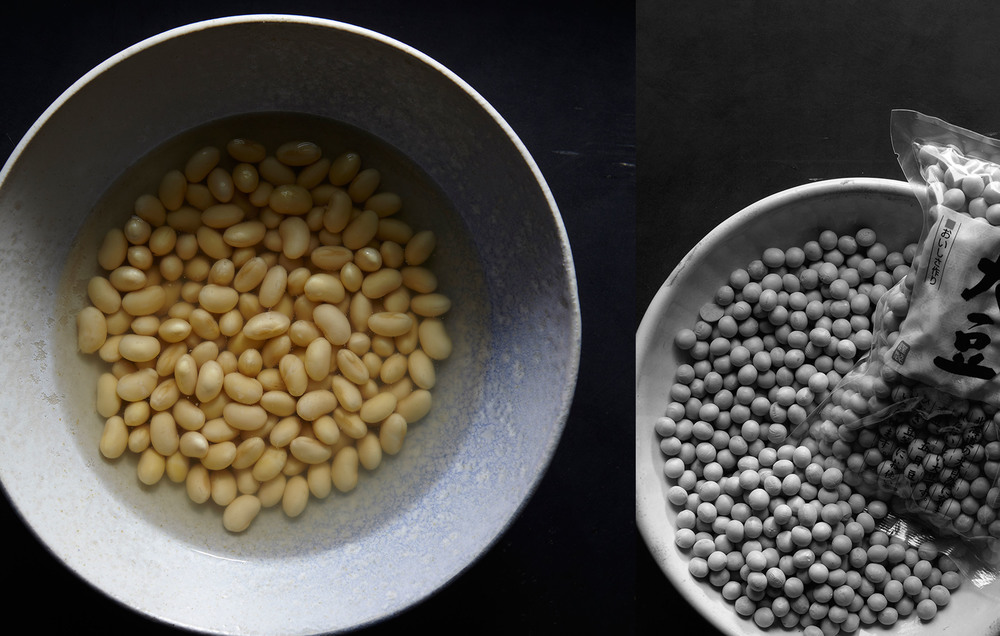 beans. before and after soaking.