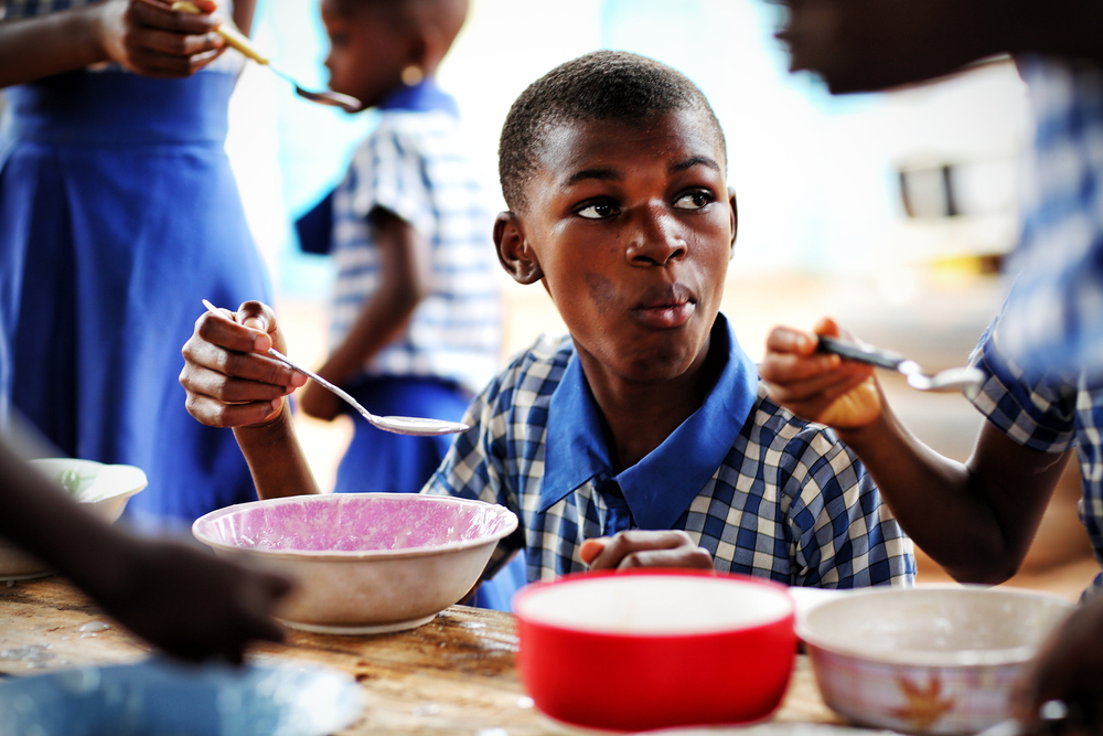 Konadu Basic School provides a breakfast of rice porride to students every morning.