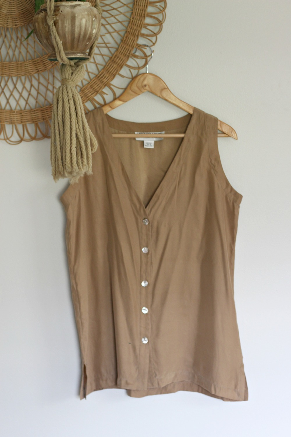 Silky Button-front Blouse $15