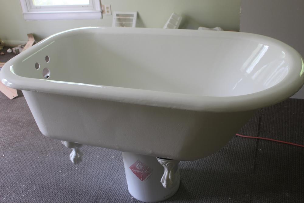 Clawfoot tub reglazing after one coat