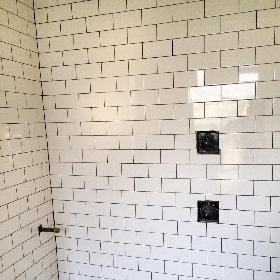 New subway tile in shower