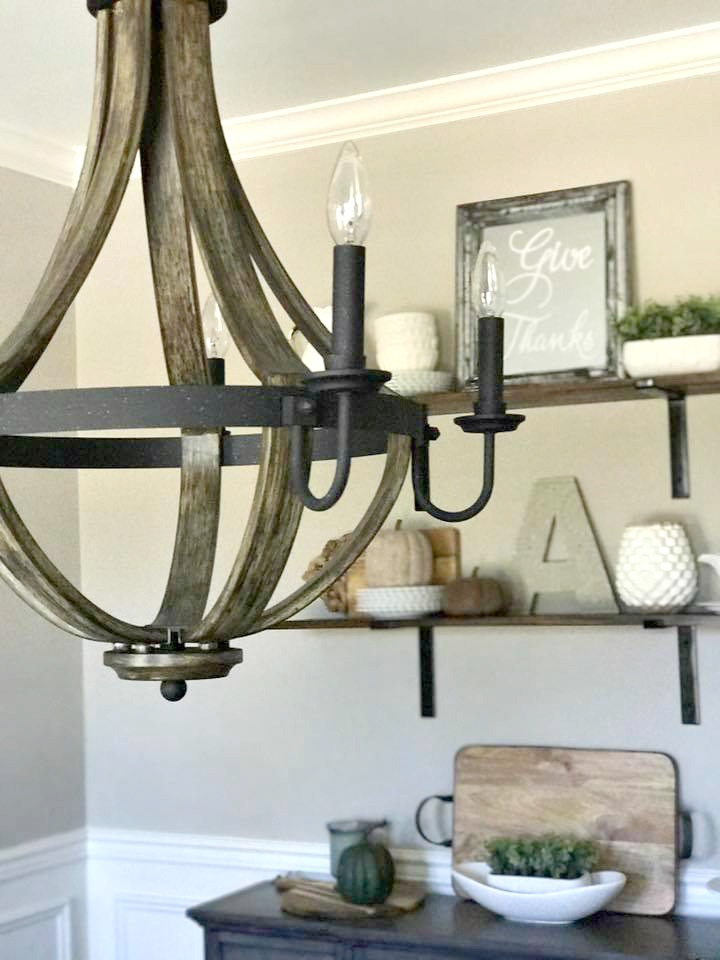 Wood + metal chandelier- Lowe's