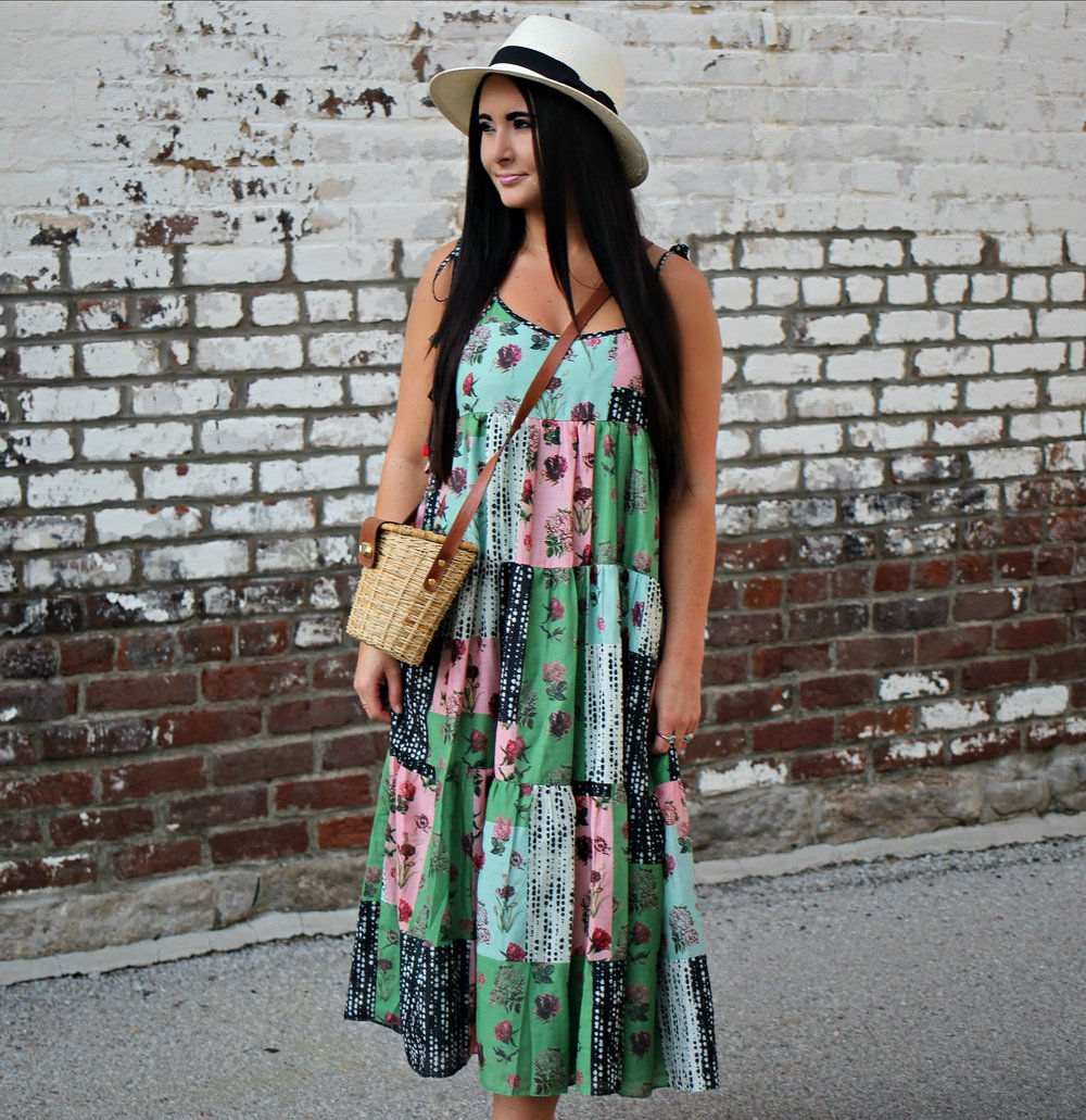dc76d0a90919 Patchwork Floral Midi Dress — Gathered Living
